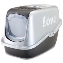 """Туалет-домик для кошек """"Nestor Impression Love """" серебристо-серый  56*39*38.5см"""