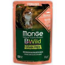 Cat BWild GRAIN FREE паучи из лосося с креветками и овощами для стерилизованных кошек