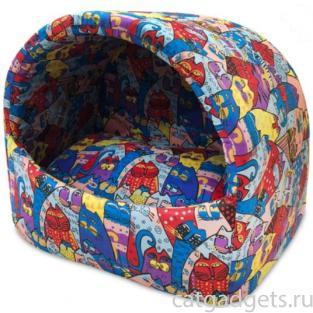 Домик-ракушка для животных Цветные коты, бязь, М 40*30*32см