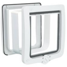 Дверца для кошки XL, 4 позиции, с туннелем, клапан 18 х 20 см, белая (44241)