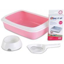 Набор для котят Starter Kit розовый (туалет IRIZ 42 см, пакеты,совок, миска)