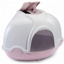 Туалет для кошек закрытый угловой GINGER, пепельно-розовый, 50*40*40 см