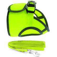 Комплект: поводок и шлейка-жилетка, обхват груди 30 см,  неоново-желтый (HL028XS)