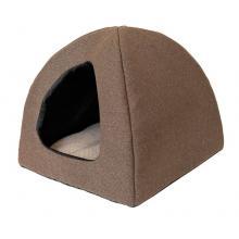 """Домик мягкий с подушкой """"ФАНЗА"""" - рогожка, коричневый 42*42*35 см."""