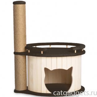 """Комплекс для кошек  """"Том"""" с бортиком, темно-коричневый 60*45*75 см"""