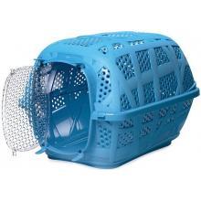 """Переноска для животных """"Carry Sport"""", ПЛАСТИКОВАЯ ДВЕРЬ, голубая, 48,5*34*32 см"""
