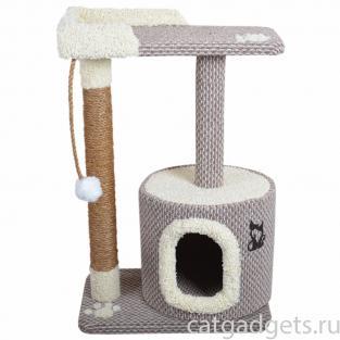 Когтеточка домик из безворсового ковролина, белая отделка